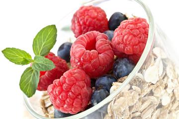 muesli with raspberries and blueberries