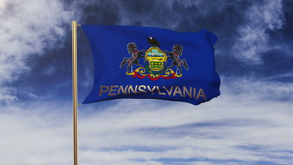 pennsylvania flag with title waving in the wind. Looping sun