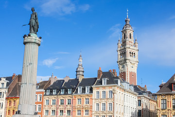 Chambre of Commerce and Statue Deesse in Lille, France