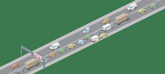 Isometric selection of vehicles in traffic jam LH drive
