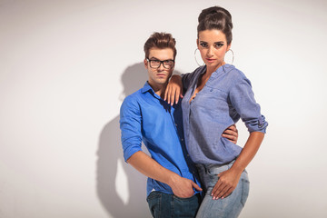 Gorgeous fashion woman posing with her lover