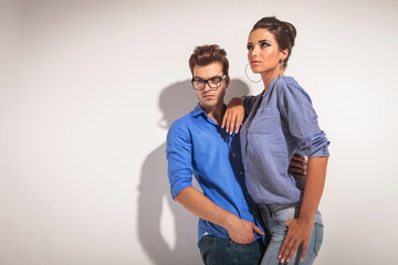 Angle view of a young fashion couple
