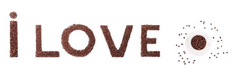 coffee letters isolated
