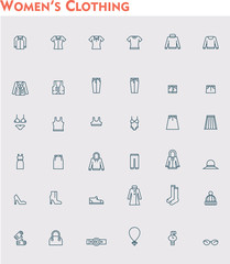 Linear women clothes icon set