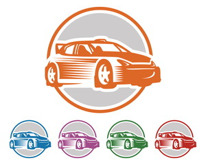 Car Logo - Rally Car - Car Vector - Rally Logo - circle