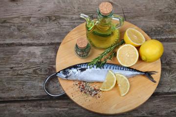 Raw fish with lemon and rosemary