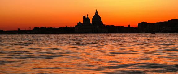 Basilica di Santa Maria della Salute church in sunset Venice