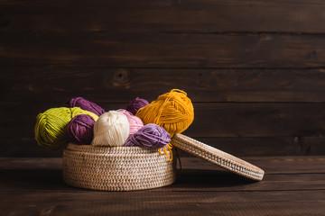 Wool yarn in coils  in wicker basket
