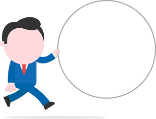 Businessman running and holding wide blank circle banner