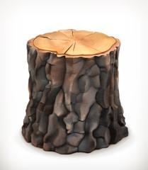 Tree stump, vector icon