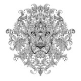 Tattoo, graphics head of a lion with a mane - 80253327