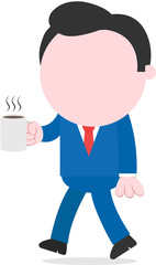 Businessman walking and holding coffee mug