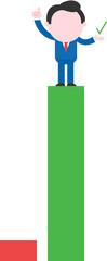 Businessman standing on tall green bar