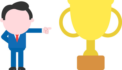 Businessman pointing to gold trophy
