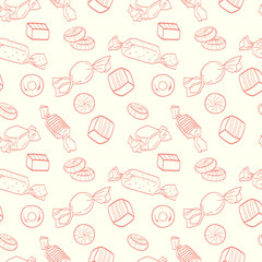 Cartoon candies seamless pattern