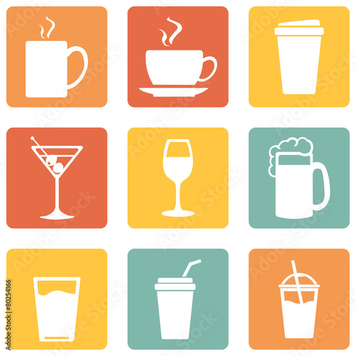 Vector Set of Drinks Icons - 80254166