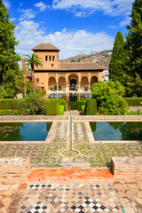 Alhambra de Granada. El Partal, amazing garden with some ponds