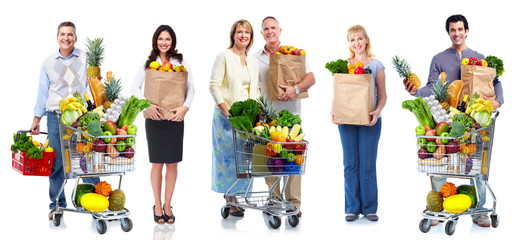 People with vegetables and fruits.
