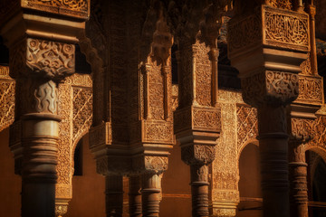 Alhambra de Granada. Muslim arches in the Court of the Lions