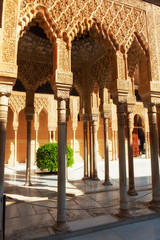Alhambra de Granada. Gallery in the Court of the Lions