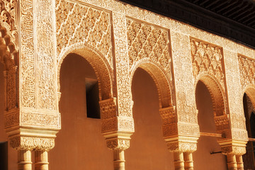 Alhambra de Granada. Arches in the Court of the Lions