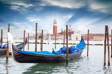 Gondola on background St. George Church in Venice