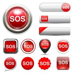 Sos button. round sticker. Metallic icon