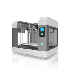 plastic 3D printer isolated on white background