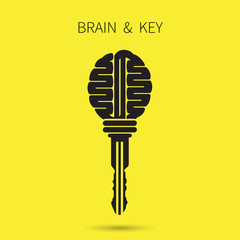 Creative brain sign with key symbol. Key of success. Business an