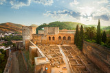 Alhambra de Granada. Alcazaba at sunrise. UNESCO whs