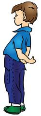 Cartoon boy in blue pants