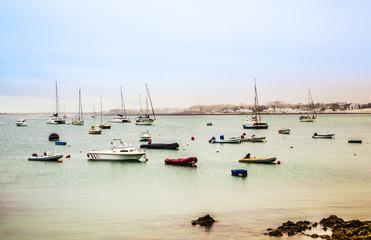 view to harbor village Corralejo in Fuerteventura with boats