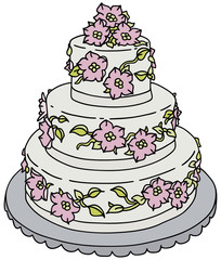 Hand drawing of a bride cake