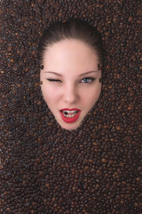 Fashion portrait of young woman floating in coffee Spa