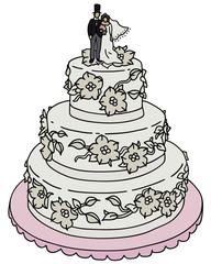 Hand drawing of a wedding cake