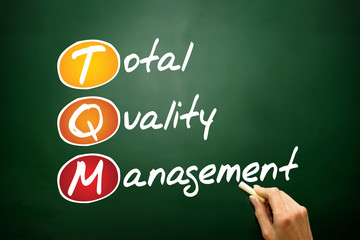 Total Quality Management (TQM) business acronym on blackboard