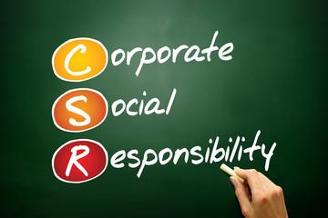 Corporate Social Responsibility (CSR) acronym on blackboard