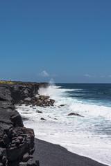 Rough sea at Kalapana Beach, Hawaii
