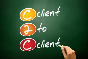 Client To Client (c2c), business acronym on blackboard