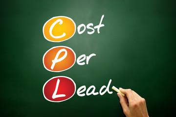 Cost Per Lead (CPL), business concept acronym on blackboard