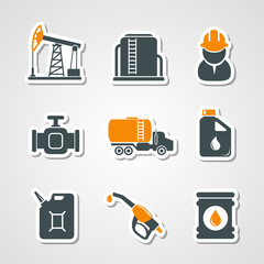 Oil and gas industry icons set