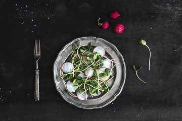 Spring salad with sunflower sprouts and radish