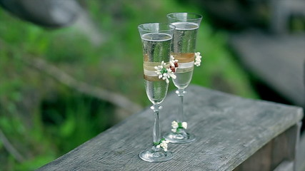 Two glasses with sparkling wine