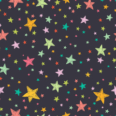 Seamless pattern with doodle colorful stars