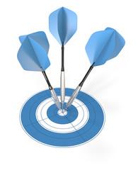 Bullseye.3 blue dart arrows hitting center of target.