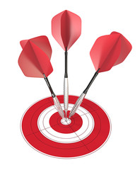 Bullseye.3 red dart arrows hitting center of target.