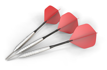Red darts.3 red dart arrows of brushed steel on white ground.