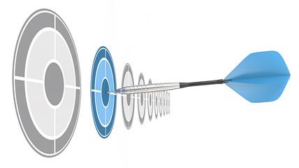 Blue Dart. Blue dart of brushed steel hitting target.