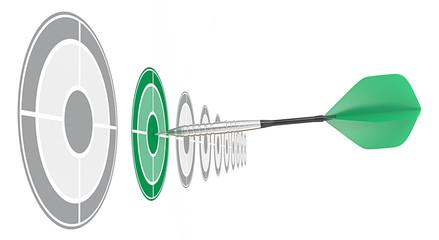 Green Dart.Horizontal row of targets.Green dart hitting target