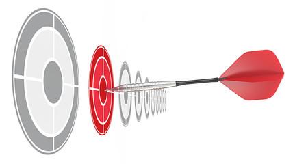 Red Dart.Horizontal row of targets.Red dart hitting target.
